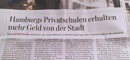 Mehr Geld für Hamburgs Privatschulen?